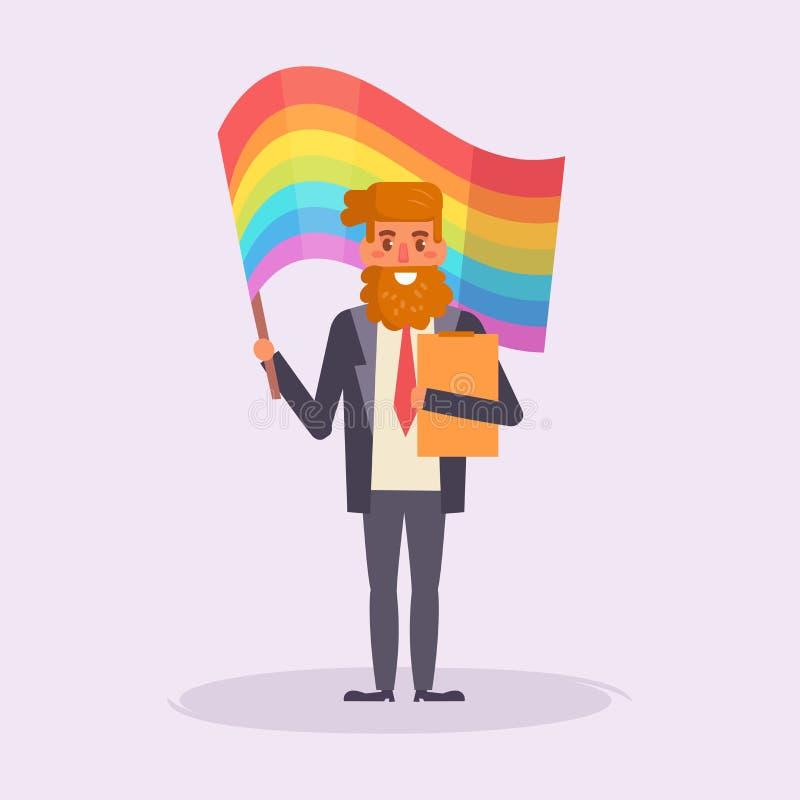 Ο ομοφυλόφιλος παρελάσεων LGBT κρατά το διάνυσμα σημαιών διανυσματική απεικόνιση