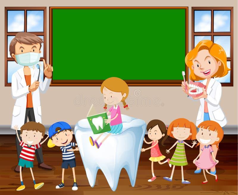 Οδοντίατροι που διδάσκουν τα παιδιά για τον καθαρισμό των δοντιών διανυσματική απεικόνιση