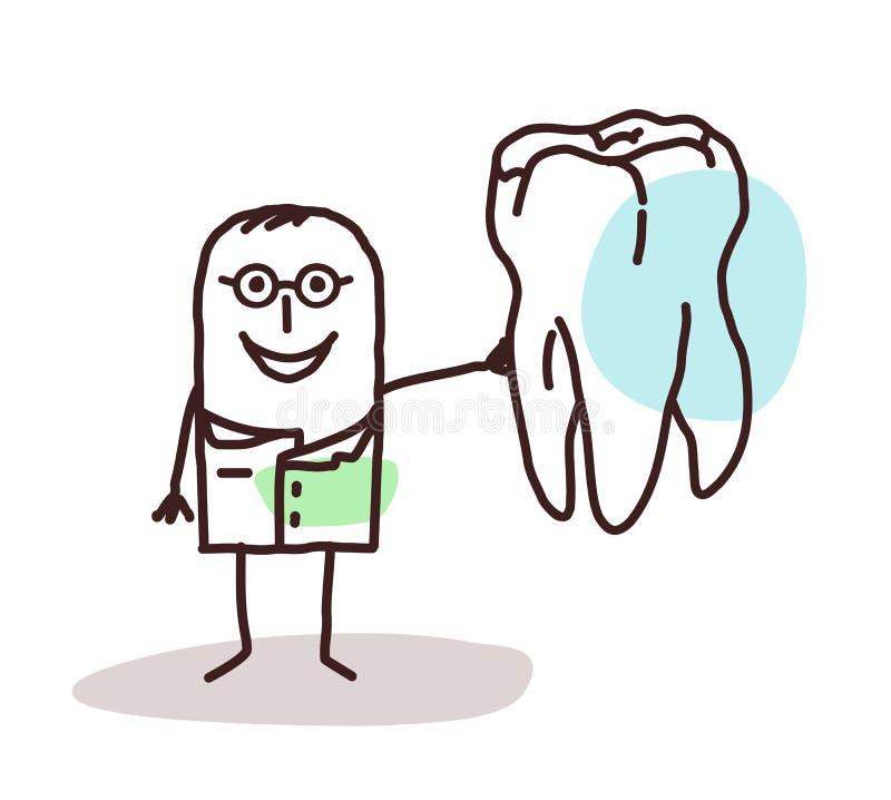 Οδοντίατρος κινούμενων σχεδίων με το μεγάλο δόντι ελεύθερη απεικόνιση δικαιώματος