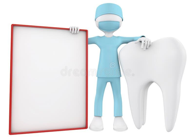Οδοντίατρος, δόντι και κενή αφίσσα ελεύθερη απεικόνιση δικαιώματος