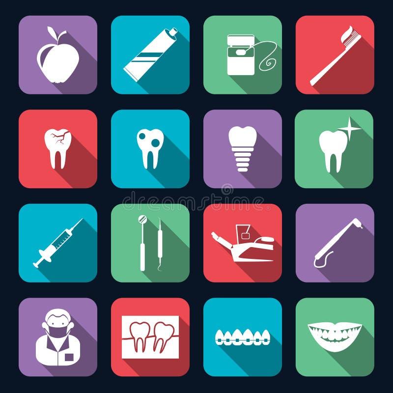 Οδοντικά εικονίδια επίπεδα διανυσματική απεικόνιση