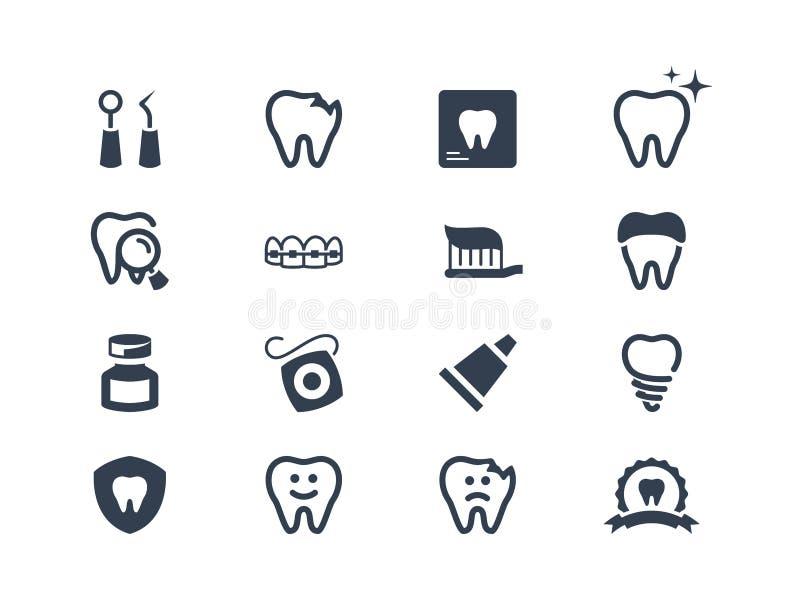 οδοντικά εικονίδια διανυσματική απεικόνιση