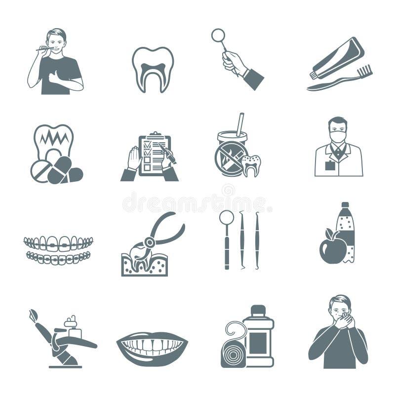Οδοντικά μαύρα εικονίδια καθορισμένα ελεύθερη απεικόνιση δικαιώματος
