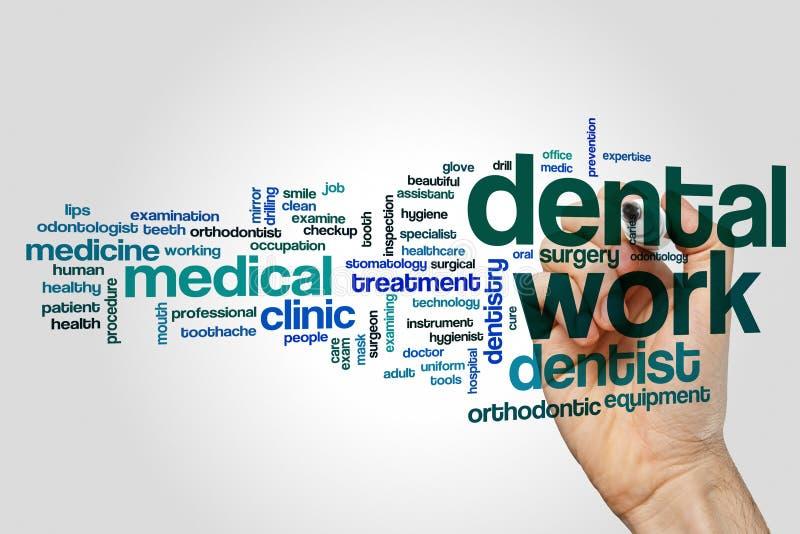 Οδοντική έννοια σύννεφων λέξης εργασίας στο γκρίζο υπόβαθρο απεικόνιση αποθεμάτων