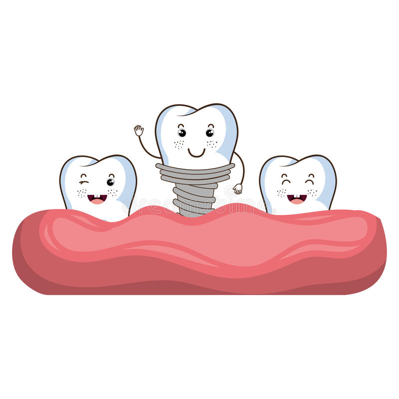 Οδοντικός χαρακτήρας δοντιών προσοχής διανυσματική απεικόνιση