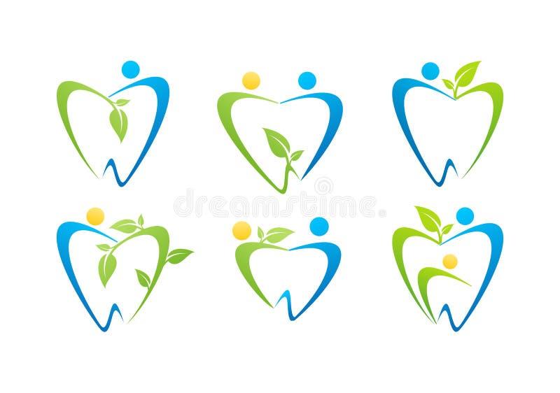 Οδοντικό λογότυπο προσοχής, καθορισμένο διάνυσμα σχεδίου συμβόλων φύσης ανθρώπων υγείας απεικόνισης οδοντιάτρων απεικόνιση αποθεμάτων