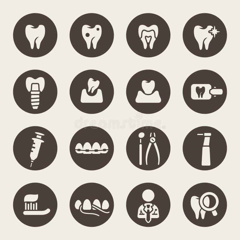 Οδοντικό σύνολο εικονιδίων διανυσματική απεικόνιση