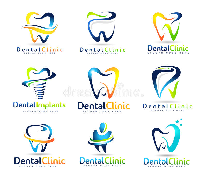 Οδοντικό σύνολο λογότυπων οδοντιάτρων ελεύθερη απεικόνιση δικαιώματος