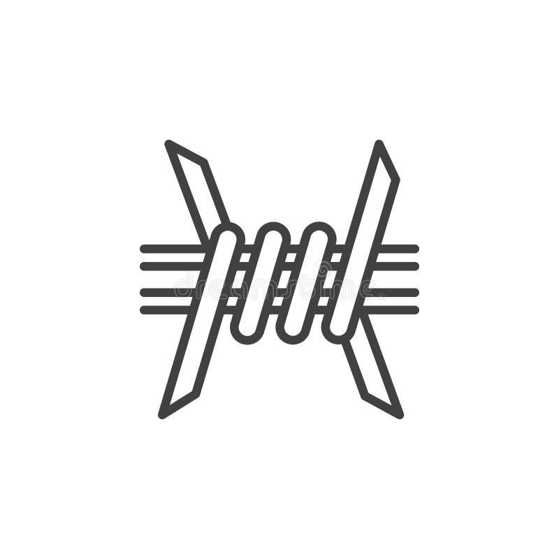 Οδοντωτός - εικονίδιο γραμμών καλωδίων, διανυσματικό σημάδι περιλήψεων ελεύθερη απεικόνιση δικαιώματος