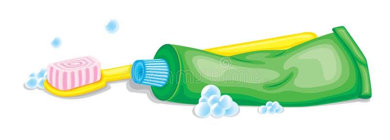 Οδοντόβουρτσα και κόλλα διανυσματική απεικόνιση