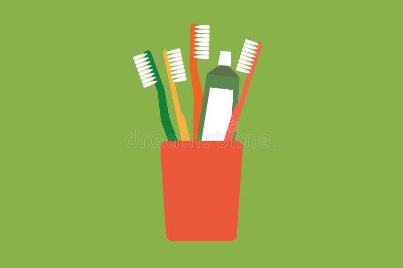 Οδοντόβουρτσα και οδοντόπαστα στο γυαλί, γειά σου πρωί απεικόνιση αποθεμάτων