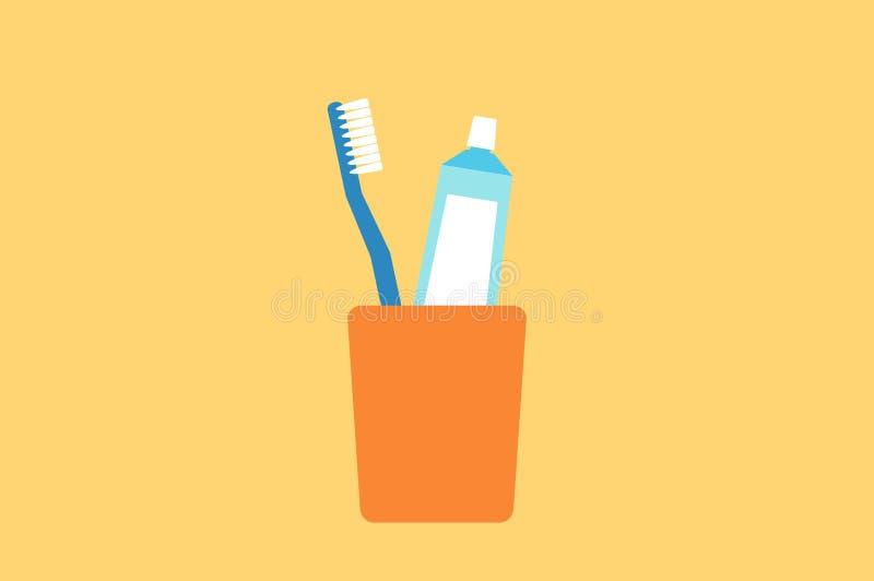 Οδοντόβουρτσα και οδοντόπαστα στο γυαλί ελεύθερη απεικόνιση δικαιώματος