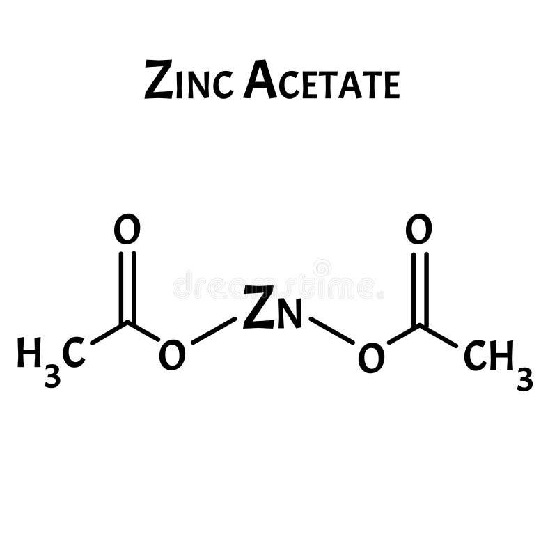 Ο οξικός ψευδάργυρος είναι ένας μοριακός χημικός τύπος Γραφικά ψευδαργύρου Απεικόνιση διανύσματος σε απομονωμένο φόντο διανυσματική απεικόνιση