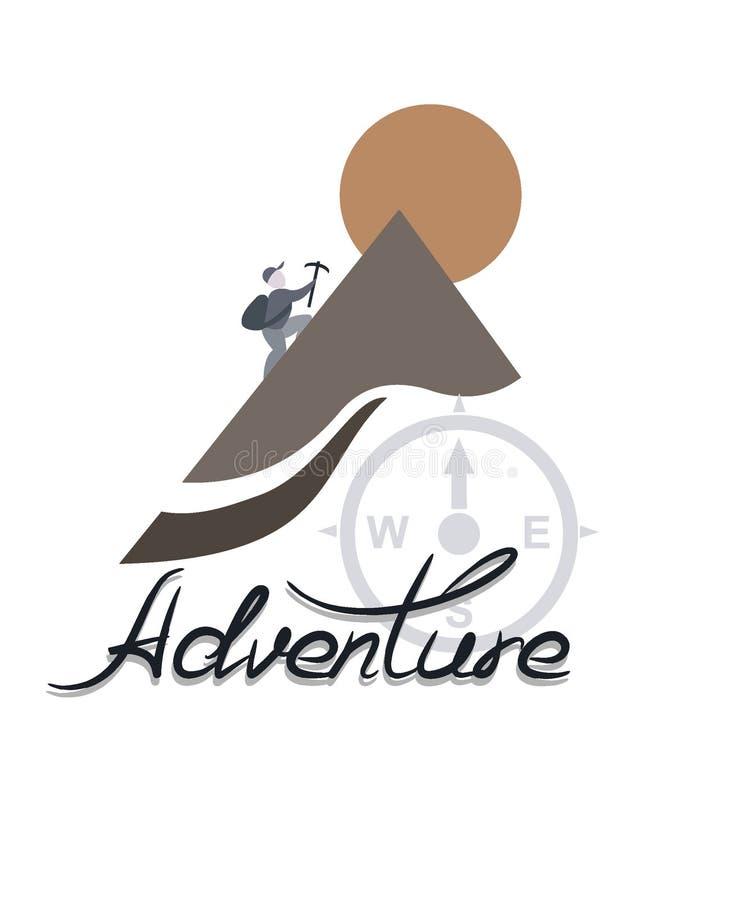 ο ορειβάτης αναρριχείται στο βουνό, το λογότυπο της περιπέτειας διανυσματική απεικόνιση