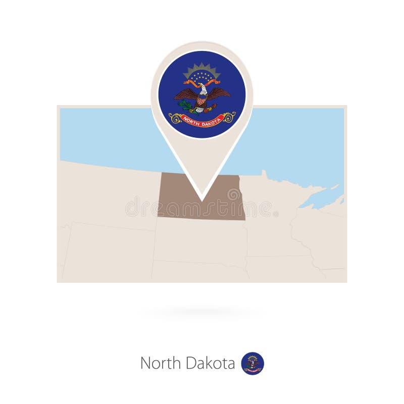 Ο ορθογώνιος χάρτης των ΗΠΑ δηλώνει τη βόρεια Ντακότα με το εικονίδιο καρφιτσών της βόρειας Ντακότας διανυσματική απεικόνιση