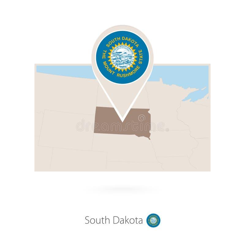 Ο ορθογώνιος χάρτης των ΗΠΑ δηλώνει τη νότια Ντακότα με το εικονίδιο καρφιτσών της νότιας Ντακότας απεικόνιση αποθεμάτων