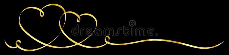 Ο οριζόντιος Μαύρος κορδελλών καλλιγραφίας δύο συνδεδεμένος χρυσός καρδιών ελεύθερη απεικόνιση δικαιώματος