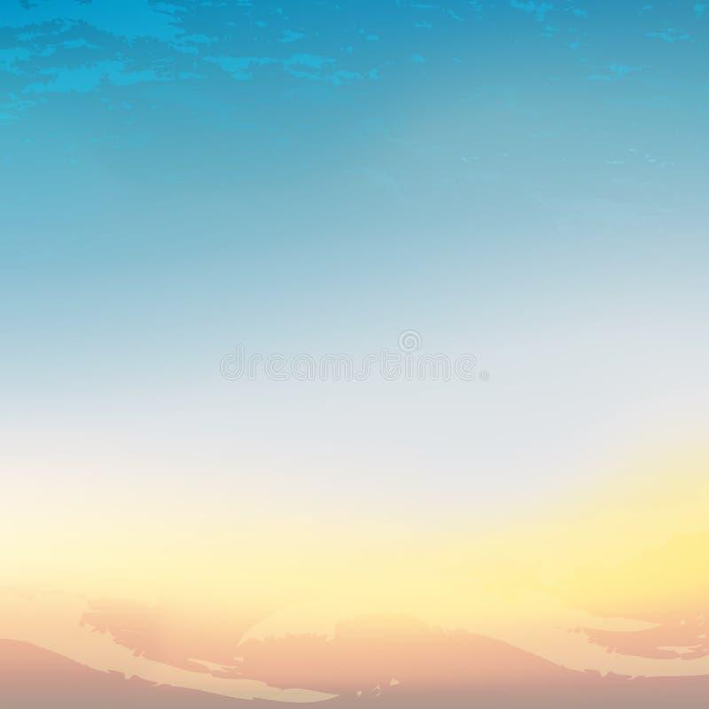 Ο ουρανός πέρα από την έρημο Θολωμένο περίληψη μπλε-κίτρινο υπόβαθρο κλίσης διανυσματική απεικόνιση