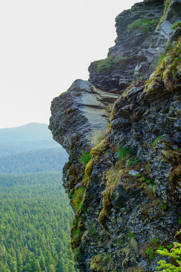 Ο οδοντωτός απότομος βράχος βράχου αγνοεί το φαράγγι στοκ εικόνες