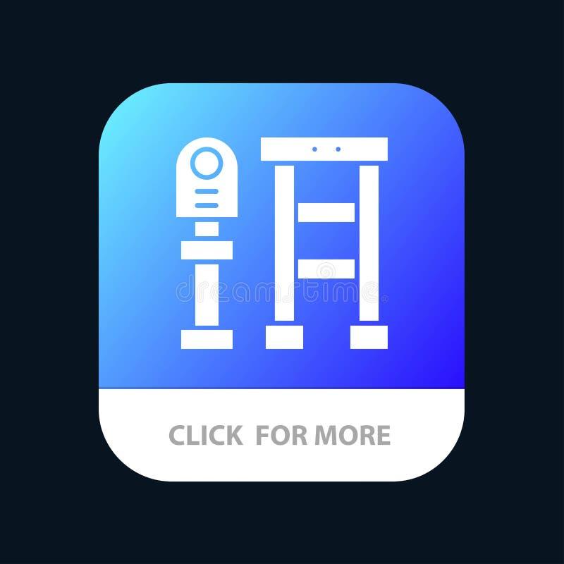 Ο πάγκος, λεωφορείο, σταθμός, σταματά το κινητό App κουμπί Αρρενωπή και IOS Glyph έκδοση ελεύθερη απεικόνιση δικαιώματος