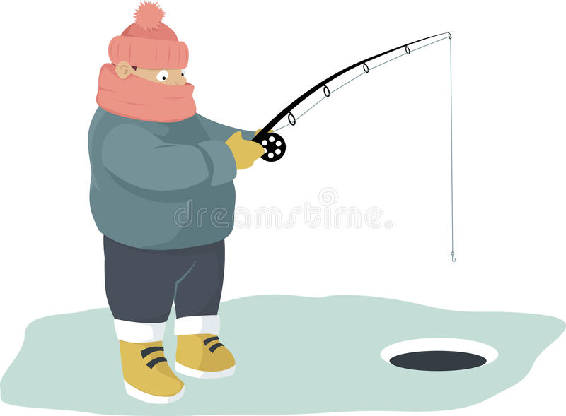 ο πάγος αλιείας ψαριών βρίσκεται ακριβώς παγιδευμένος transbaikalia χειμώνας της Ρωσίας απεικόνιση αποθεμάτων