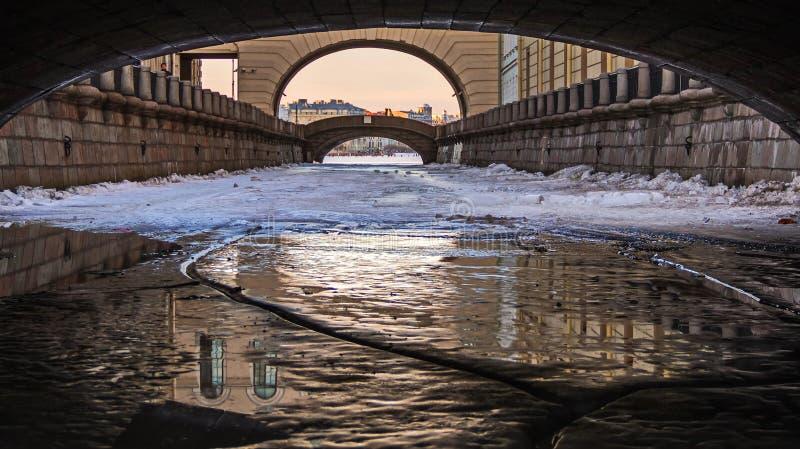 Ο πάγος στο χειμερινό αυλάκι στοκ φωτογραφία με δικαίωμα ελεύθερης χρήσης