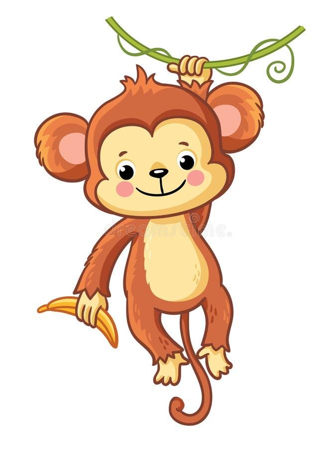 Ο πίθηκος κρεμά σε έναν κλάδο διανυσματική απεικόνιση