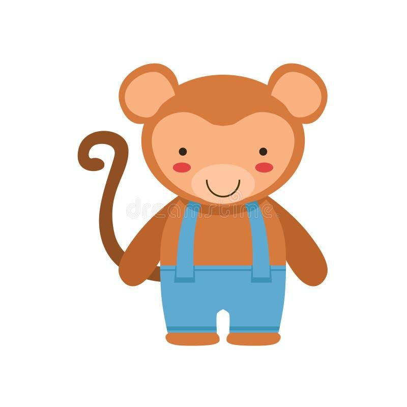 Ο πίθηκος στα μπλε εσώρουχα με Suspenders το χαριτωμένο ζώο μωρών παιχνιδιών έντυσε ως μικρό παιδί ελεύθερη απεικόνιση δικαιώματος