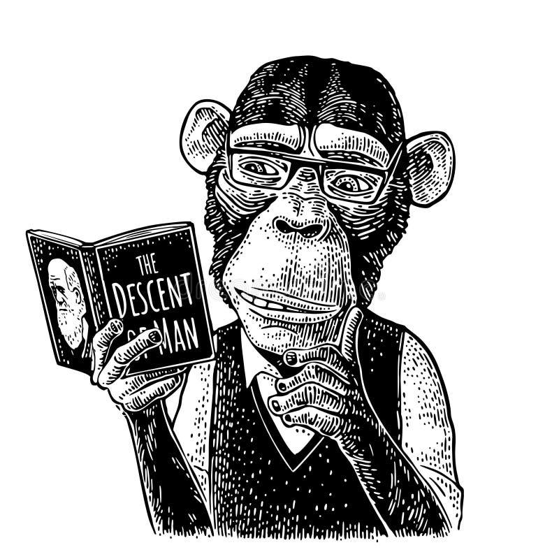 Ο πίθηκος hipster διαβάζει ένα βιβλίο Εκλεκτής ποιότητας μαύρη χάραξη απεικόνιση αποθεμάτων
