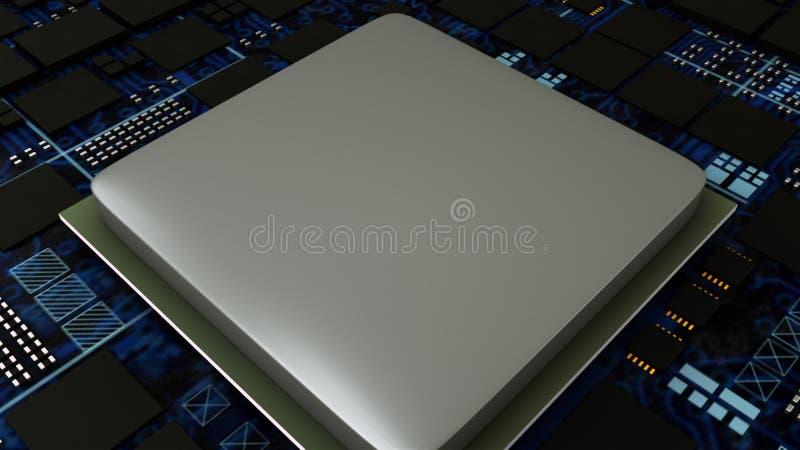 Ο πίνακας κυκλωμάτων, έννοια επεξεργαστών ΚΜΕ κεντρικών υπολογιστών, κλείνει επάνω του ψηφιακού τσιπ μητρικών καρτών, τρισδιάστατ απεικόνιση αποθεμάτων