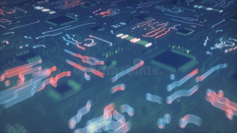 Ο πίνακας κυκλωμάτων διευθύνει ηλεκτρικό τρέχοντα τρισδιάστατο δίνει την απεικόνιση διανυσματική απεικόνιση