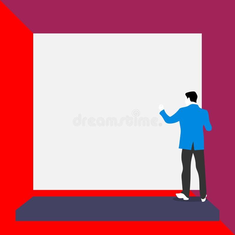 Ο πίσω νεαρός άνδρας άποψης έντυσε τη μόνιμη πλατφόρμα κοστουμιών που αντιμετωπίζει το μεγάλο κενό ορθογώνιο Κενό κείμενο Αφηρημέ απεικόνιση αποθεμάτων