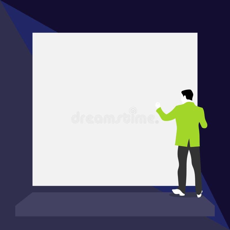 Ο πίσω νεαρός άνδρας άποψης έντυσε τη μόνιμη πλατφόρμα κοστουμιών που αντιμετωπίζει το μεγάλο κενό ορθογώνιο Κενό κείμενο Αφηρημέ ελεύθερη απεικόνιση δικαιώματος