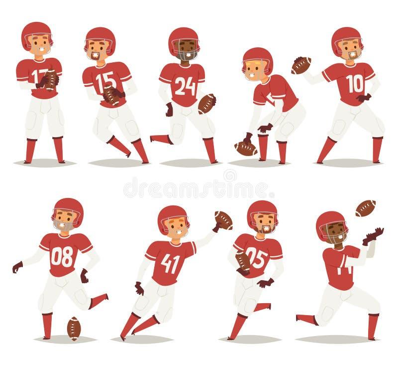 Ο παίκτης ομάδας μπέιζμπολ στο ομοιόμορφο παιχνίδι θέτει την επαγγελματική διανυσματική απεικόνιση νικητών αθλητικών χαρακτήρων έ απεικόνιση αποθεμάτων