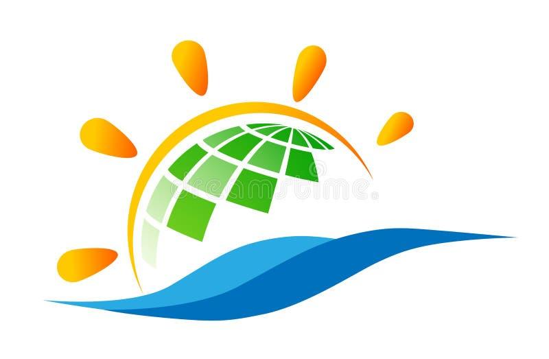 Ο παγκόσμιος πράσινοι ήλιος σφαιρών και το εικονίδιο συμβόλων έννοιας λογότυπων κυμάτων θαλάσσιου νερού σχεδιάζουν το διάνυσμα στ ελεύθερη απεικόνιση δικαιώματος