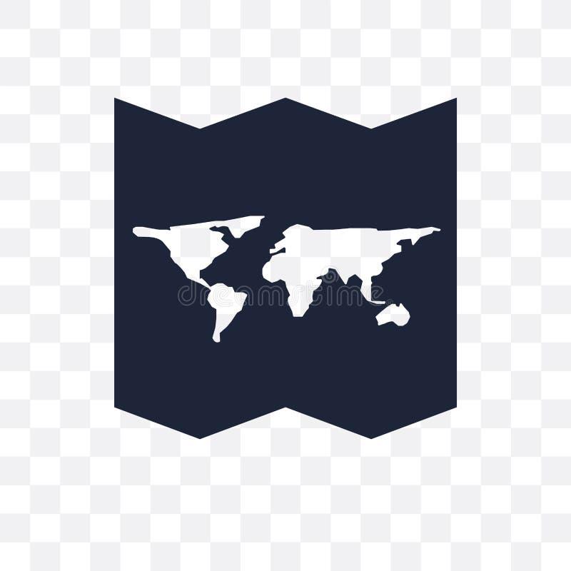 Ο παγκόσμιος χάρτης δίπλωσε το διαφανές εικονίδιο Παγκόσμιο διπλωμένο χάρτης σύμβολο desig διανυσματική απεικόνιση