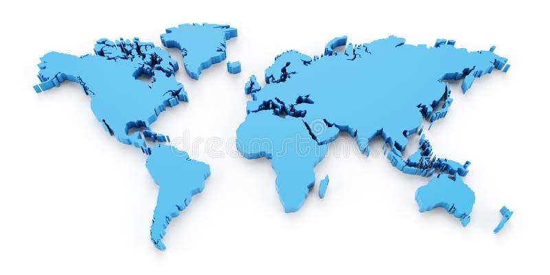 Ο παγκόσμιος χάρτης λεπτομέρειας, τρισδιάστατος δίνει ελεύθερη απεικόνιση δικαιώματος