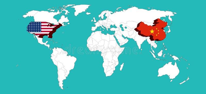 Ο παγκόσμιος χάρτης διακόσμησε τις ΗΠΑ από το ΑΜΕΡΙΚΑΝΙΚΌ flage και την Κίνα από την Κίνα flage το /Elements αυτής της εικόνας πο ελεύθερη απεικόνιση δικαιώματος