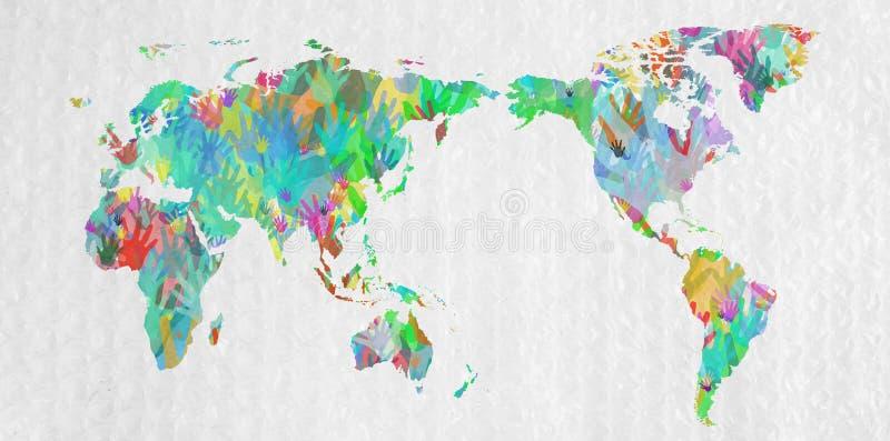 Ο παγκόσμιος χάρτης με παραδίδει τα διαφορετικά χρώματα στοκ εικόνες