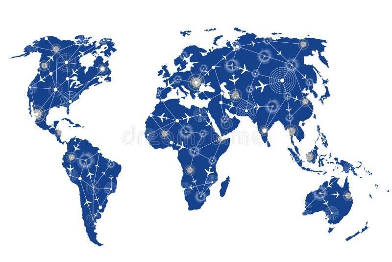 Ο παγκόσμιος χάρτης στην έννοια μεταφορών διανυσματική απεικόνιση