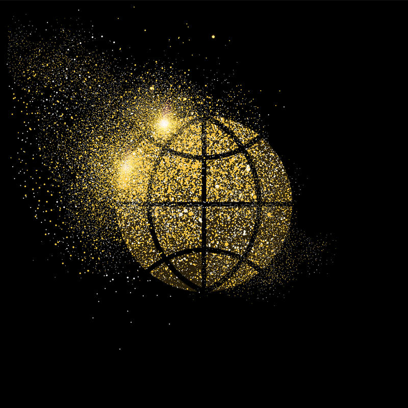 Ο παγκόσμιος χρυσός ακτινοβολεί απεικόνιση συμβόλων έννοιας τέχνης διανυσματική απεικόνιση