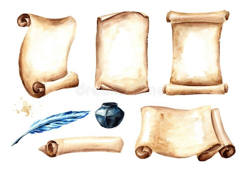 Ο παλαιά κύλινδρος ή η περγαμηνή εγγράφου με τη μάνδρα και inkwell θέτει Συρμένη χέρι απεικόνιση Watercolor που απομονώνεται στο  διανυσματική απεικόνιση