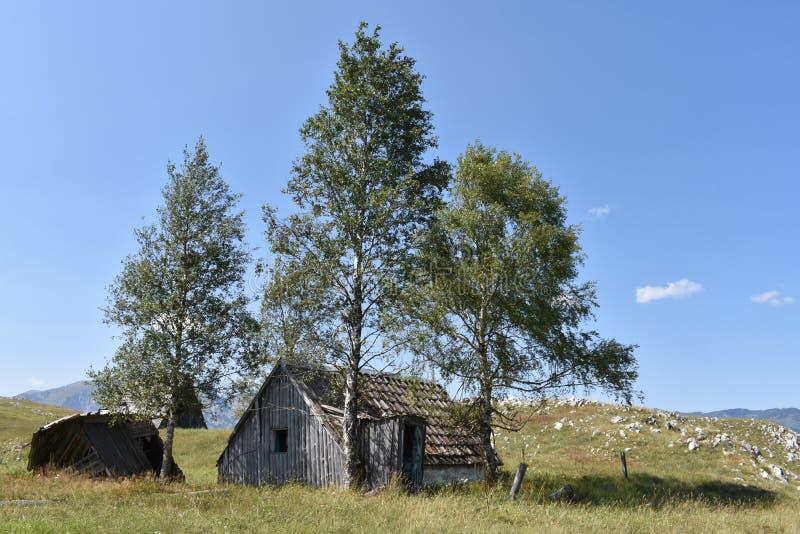 Ο παλαιός, οι εγκαταλειμμένοι ποιμένες έχτισε παραδοσιακά τις ξύλινες καλύβες στοκ εικόνα