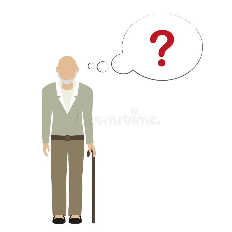 Ο παλαιός χαρακτήρας ατόμων δεν μπορεί να θυμηθεί διανυσματική απεικόνιση
