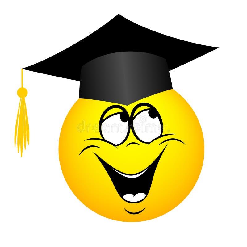 Ο πανεπιστημιακός πτυχιούχος σε ένα τετραγωνικό ακαδημαϊκό καπέλο, emoticon απεικόνιση αποθεμάτων