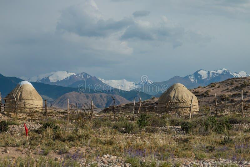 Ο παραδοσιακός Κιργίσιος yurts σε Bokonbayevo, Κιργιστάν - ένα δημοφιλές κέντρο για την Κοινότητα βάσισε τον τουρισμό CBT στοκ φωτογραφία με δικαίωμα ελεύθερης χρήσης