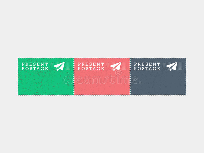 Ο παρών τρύγος γραμματοσήμων ταχυδρομείου αέρα hipster ορίζει τη διανυσματική γραφική απεικόνιση που απομονώνεται στο ελαφρύ υπόβ απεικόνιση αποθεμάτων