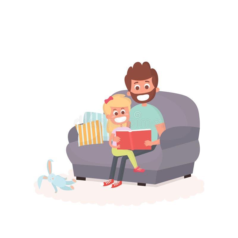 Ο πατέρας διάβασε ένα storybook στην κόρη του σε έναν καναπέ Μπαμπάς με το παιδί σε έναν καναπέ από κοινού Χαριτωμένη απεικόνιση  ελεύθερη απεικόνιση δικαιώματος