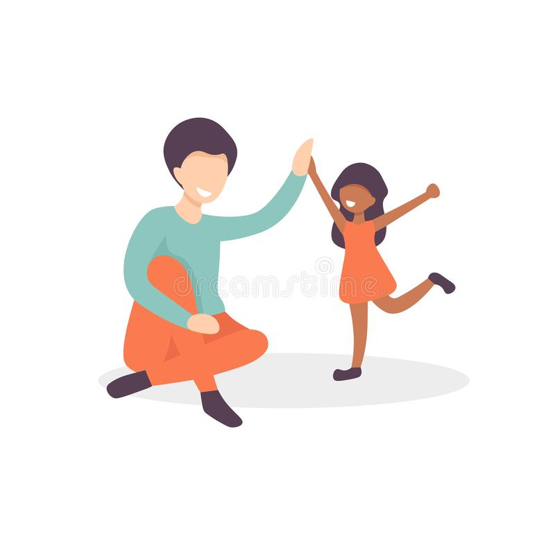 Ο πατέρας και η κόρη δίνουν πέντε απεικόνιση αποθεμάτων