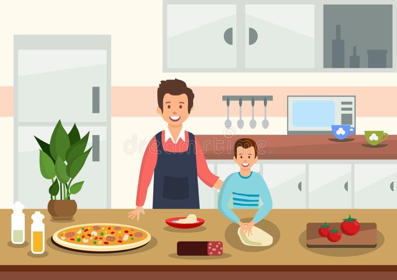 Ο πατέρας κινούμενων σχεδίων βοηθά το γιο για να ζυμώσει τη ζύμη για την πίτσα διανυσματική απεικόνιση